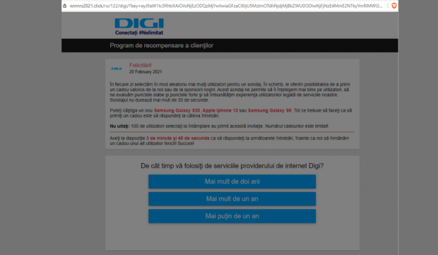 Campanie de tip phishing/scam