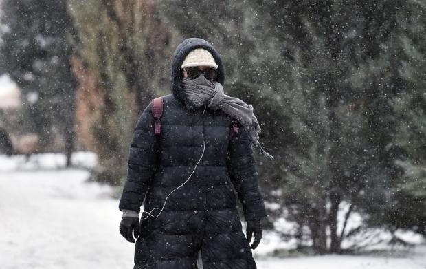 Iarnă, ninsoare, vânt puternic